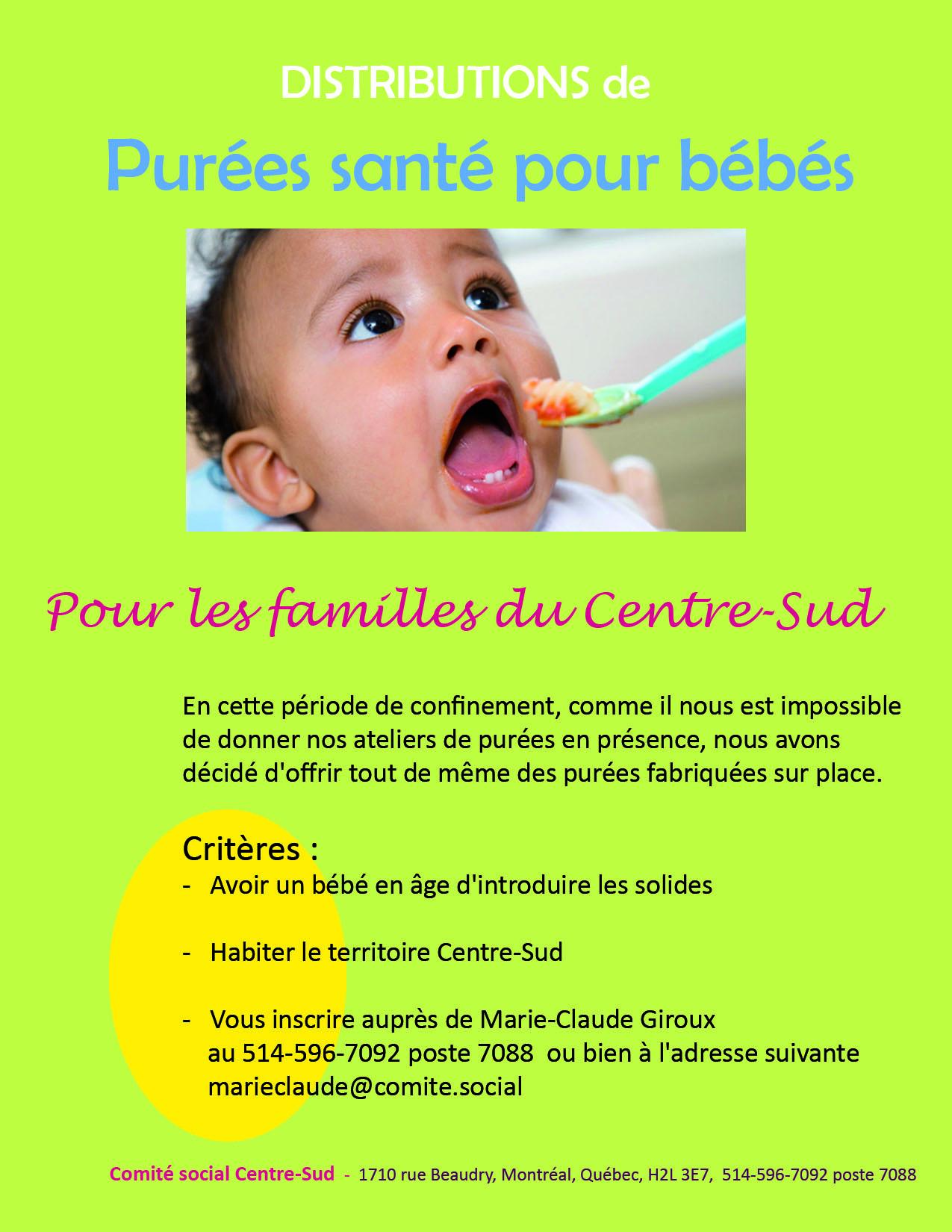 Distributions de purées santé pour bébé @ comité social Centre-sud